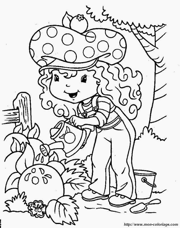 Colorear Tarta De Fresa Dibujo En Su Huerto