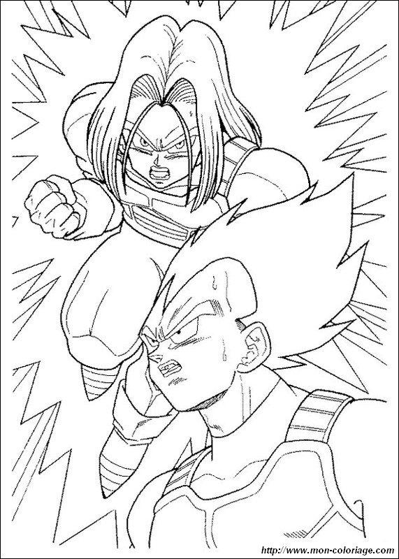 Colorear Dragon Ball Z Dibujo Vegeta Con Su Hijo Trunks