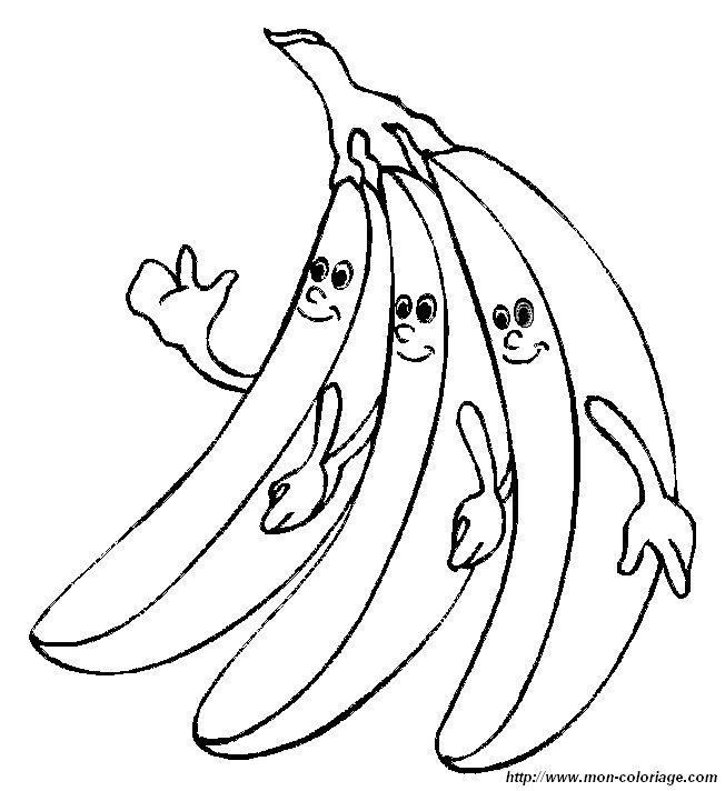 Colorear Frutas, dibujo platano