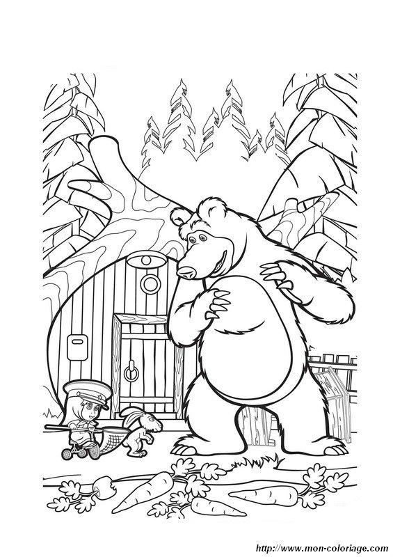 Colorear Masha y el oso dibujo