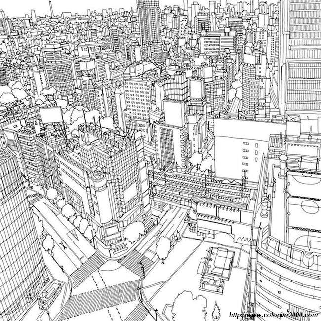 Colorear Para Adultos Dibujo Una Ciudad
