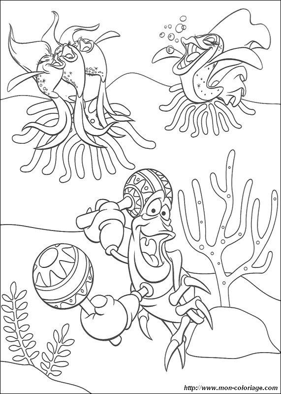 Colorear La Sirenita, dibujo danza y musica bajo el mar